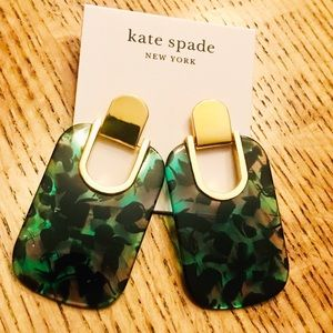 NWT KATE SPADE Sedgwick Green Lucite Earrings